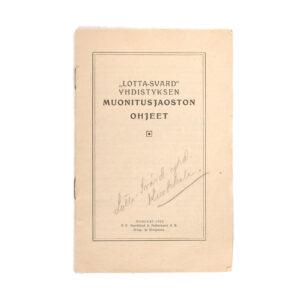 Lotta Svärd Catering Branch Regulations Booklet, 1922