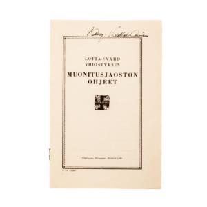 Lotta Svärd Catering Branch Regulations Booklet, 1939