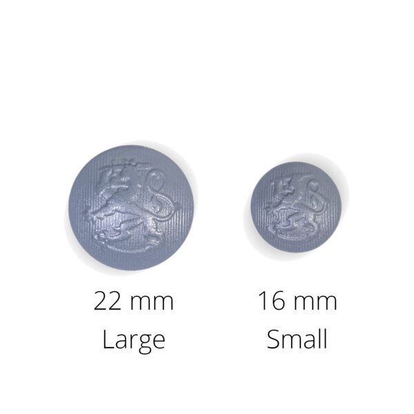 Grey metal reproduction coat-of-arms buttons