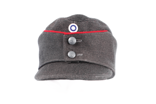 m/36 Field Hat with leather reinforced bill and made out of original material.