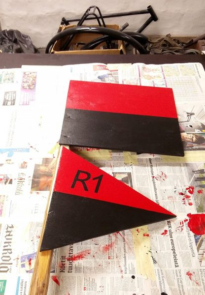 Command post signs for a reenactment unit.
