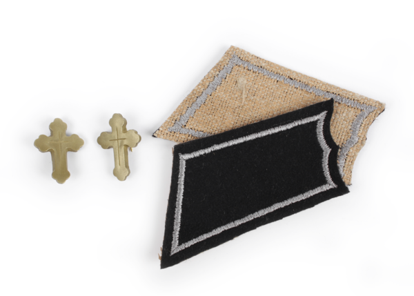 Collar insignia of an eastern orthodox priest, custom embroidered and resin crosses.